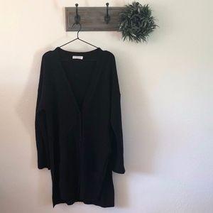 Everlane Black Wool Cashmere Long Cardigan L